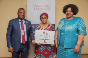 Mr.Mike Dada,President and Executive Producer, AFRIMA, Mariama Cisse Mohamed, Acting Director for Social Affairs, African Union & Ms. Angela Martins, Head of Culture, African Union.